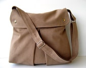 LAST ONE - Modular Messenger Bag in Light Brown / Laptop Bag / Diaper Bag / Travel Bag / Pleated Bag with flap and adjustable strap