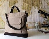 LAST ONE - Men, Project Messenger Bag in Light Brown, UNISEX multi functional handstiched - handbag, carry bag - macbook pro - large
