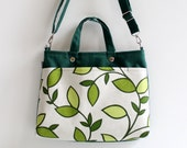 SALE Mini Laptop Bag in Emerald Green Beautiful Daphne Leaves / Macbook / Ipad / Outside Pocket / chartreuse / Spring Fashion / Summer