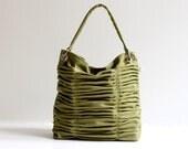 Poetry in Olive Green / Pleated Bag / Shoulder Bag / Diaper Bag / Large / Ruffles Bag / Pistachio / Messenger / Cross Body / Choose Color