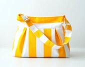 Fora Bag in Yellow & White Stripes Pleated Bag / Summer Fashion / ZIPPER TOP CLOSURE / Messenger Bag / Shoulder  / Large / Cross Body Bag