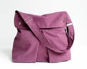 Last One - Modular Messenger Bag in Purple, Shoulder Bag / Laptop Bag / Diaper Bag / Travel Bag / Pleated with flap, adjustable strap / Plum