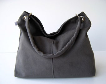 Classy Hobo Bag in Olive Grey - with top ZIPPER CLOSURE Large, diaper bag, hobo bag, shoulder bag, handbag, women bag, gift for her, gift