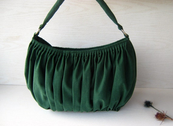 NEW.... WINTER..... Bella in Emerald Green --the drapery bag, so chic, large and elegant everyday purse with zippered closure and single strap--