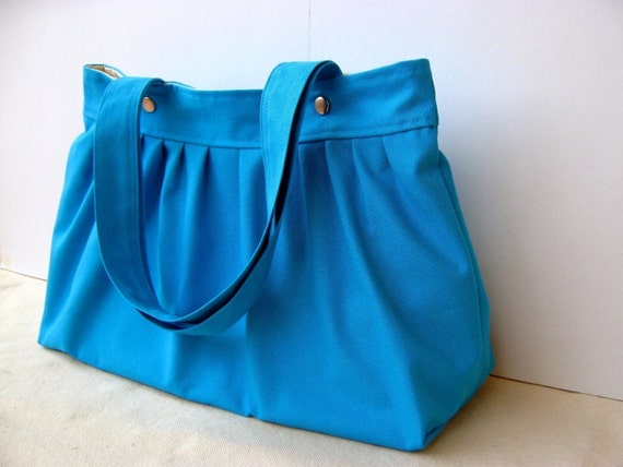 Glory in True Blue  --pleated everyday bag with double straps--