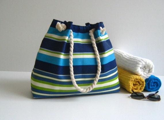 Sailor Tote.. blue-white-green