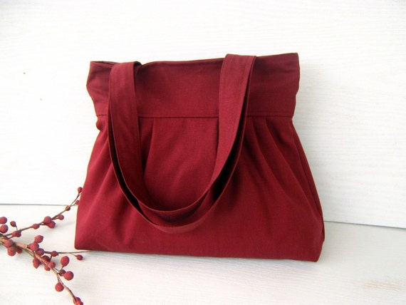 Burgundy Canvas --everyday purse-- --top ZIPPERED CLOSURE with double straps--