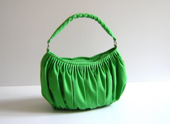 Bella in Apple Green --the drapery bag, so chic, large and elegant everyday purse with zippered closure and single strap--