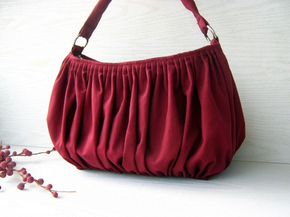 NEW Bella in Burgundy - the drapery bag, so chic, large and elegant everyday purse with zippered closure and single strap -