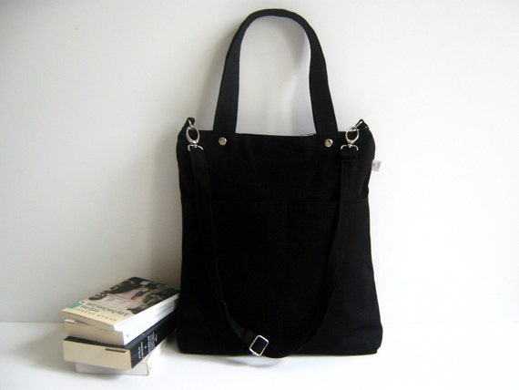 Last One - Simply Tote Bag in black - unisex - multi functional handstiched - handbag - satchel - carry bag - macbook pro - large