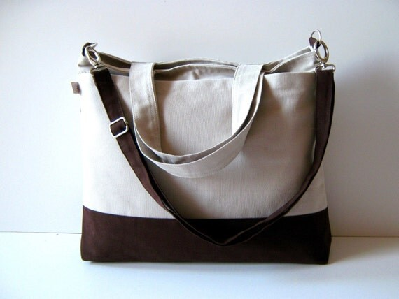 LAST ONE - Worthy Bag in Khaki with Chocolate Brown UNISEX  gift idea for him or her / tote / spring summer / woodland / nature / laptop Bag