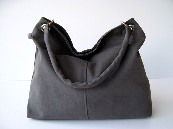 Last One - Classy Hobo Bag in Olive Grey - with top ZIPPER CLOSURE -- Large
