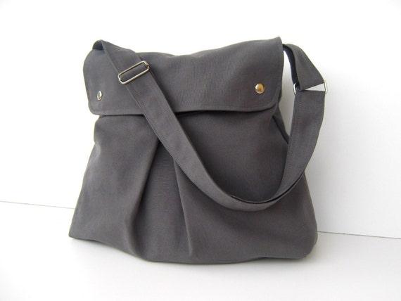 LAST ONE - Modular Messenger Bag in Grey / Gray / Shoulder Bag / Laptop Bag / Diaper Bag / Travel Bag / Pleated with flap, adjustable strap