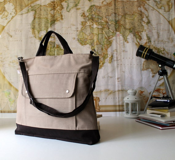 LAST ONE - Men, Project Messenger Bag in Light Brown, UNISEX multi functional handstiched - handbag, carry bag - macbook pro - large