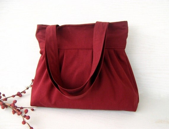 LaST ONE - Burgundy Canvas --everyday purse-- --top ZIPPERED CLOSURE with double straps-- texture / laptop bag / Choose your Color / Trip