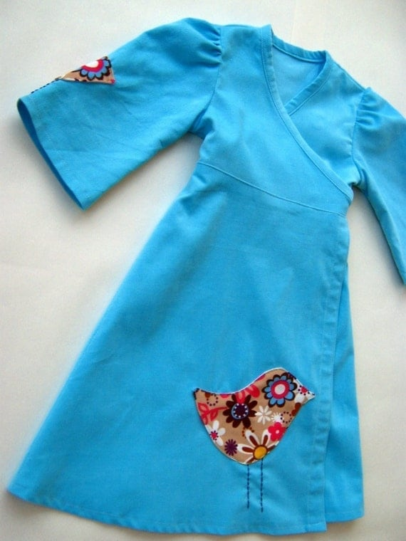 Aqua Blue --half sleeves kimono dress-- -with birds applique-