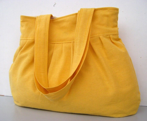 Pleated Bag in Yellow --everyday purse, with double straps--