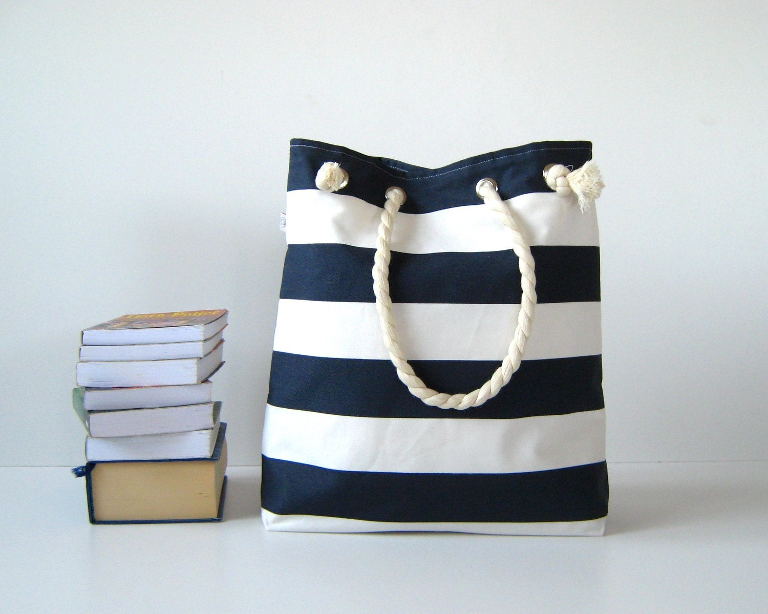 Sailor Tote Bag for market or beach or gym dark blue and