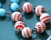 Striped Beaded Glass Necklace with Vintage Glass Beads - Blue Bicyclette Necklace
