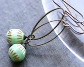Mentha Earrings - Vintage Glass and Antiqued Brass