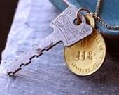 King Street Necklace - Vintage Brass Tag and Vintage Key