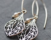 Silver Filigree and Pearl Earrings with Sterling Silver Earwires