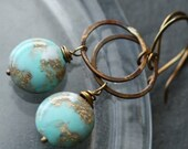 Eggshell Blue Marbled Beaded Earrings with Vintage Lucite Beads