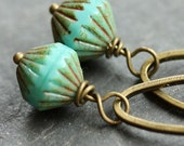 Aqua Turquoise Dangle Earrings with Czech Glass Beads