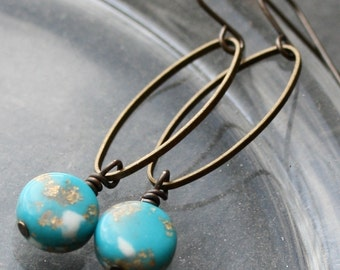 Marbled Aqua Lucite Beaded Earrings with Vintage Lucite Beads - Cannes Earrings