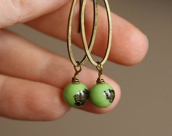 Green Speckled Oval Beaded Earrings with Vintage Glass Beads