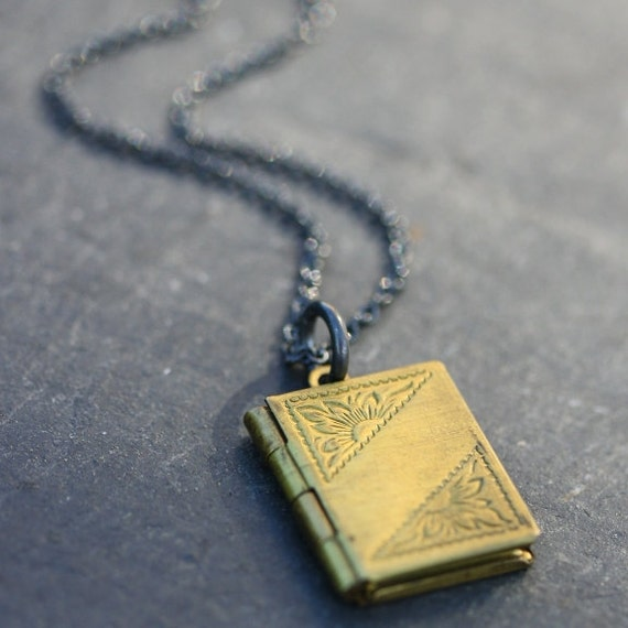 Tiny Book Locket Necklace with Vintage Locket and Oxidized Sterling Silver