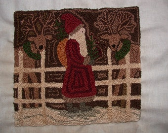 Primitive Santa and His Reindeer Punch Needle Pattern