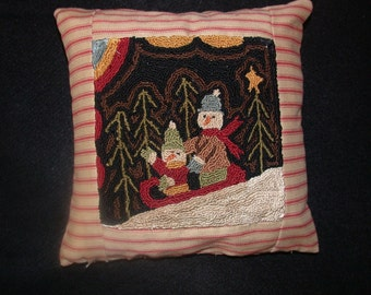 Primitive Punch Needle Cristmas Pattern   Winter Ride