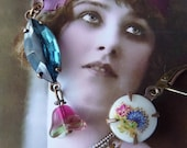 Kate Earrings - Vintage Inspired Jewelry - Blue - Pink - Vintage Glass Jewels (SD0021)