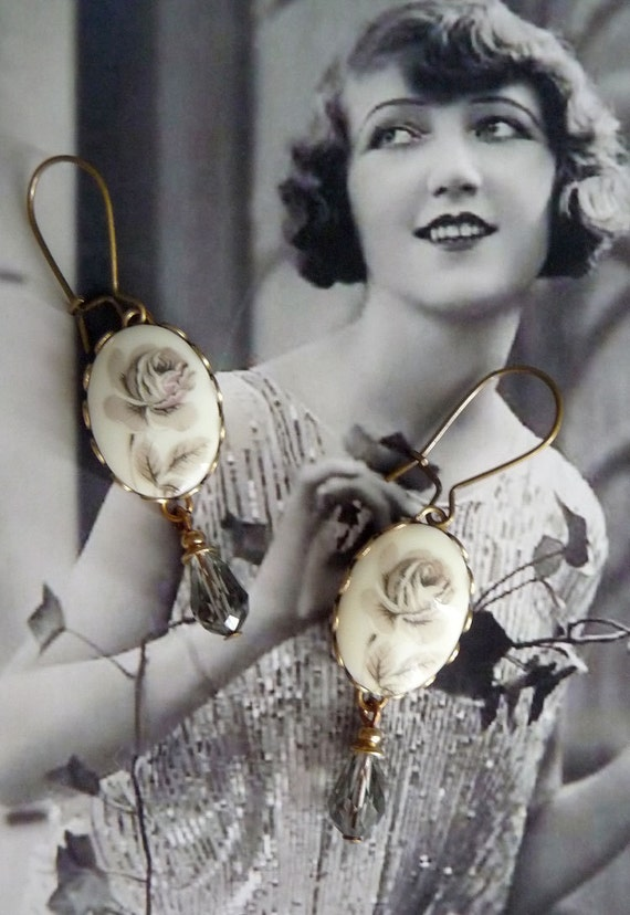 Ashes Earrings - Vintage Inspired Jewelry - Gray Roses earrings with vintage cabochons and glass jewels (SD0047)