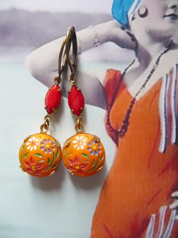 Orangina Earrings - Vintage Jewelry - Orange Earrings - Red - Vintage cabochons