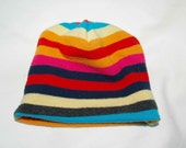 Stripey Skully - Up-cycled baby hat