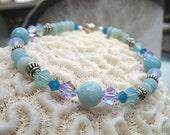 Mint Green and Violet Blue Bracelet - Amazonite & Crystal Bracelet