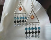 Teal, Copper, Black Silver Chandelier Earrings - Sterling Silver and Crystals