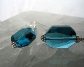 Indicolite Teal Crystal Earrings - Geometric Shape Beauties