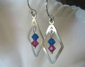 Blue and Fuchsia Small Chandelier Earrings - Crystals and Sterling Silver Diamond Shape