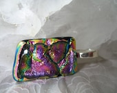 Fuschia Magenta and Green Dichroic Fused Glass Pendant