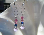 Pink Rose Crystal Chandelier Earrings - Pink and Metallic Blue Crystals and Sterling Silver