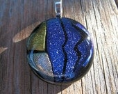 Blue Silver Gold Dichoric Fused Glass Pendant - Shimmering Sapphire Waves
