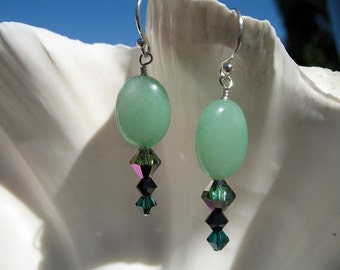 Green Dangling Earrings -  Green Aventurine and Crystals