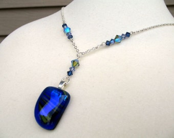 Sapphire Cobalt Blue Fused Glass Necklace with Lavender Violet Dichroic and Yellow Stripes
