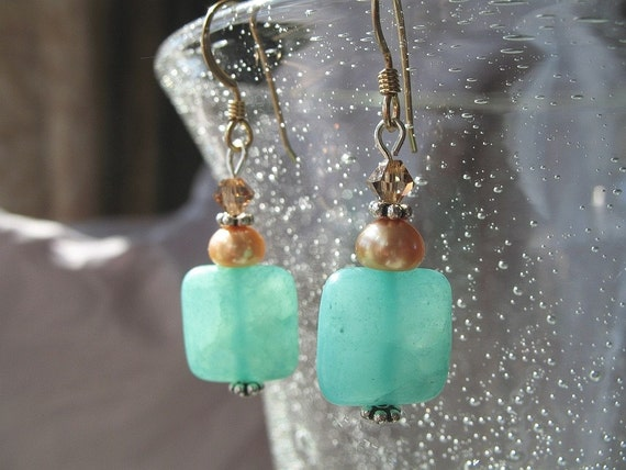 Mint Green Hemimorphite Earrings with Gold Freshwater Pearls - Sea Foam Green