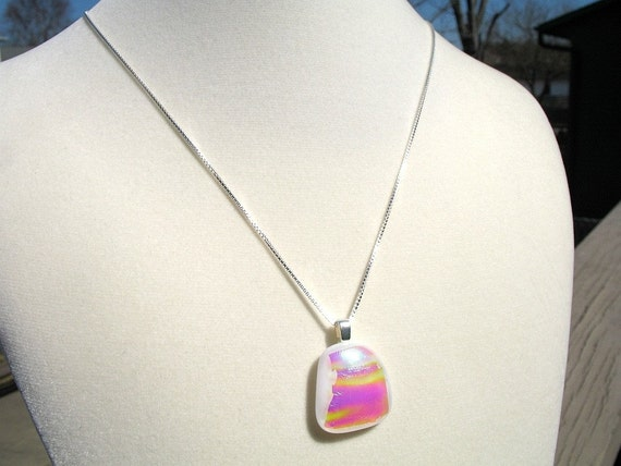 """Hot Pink and Yellow Necklace, Dichroic Fused Glass on 18"""" Sterling Silver Chain"""