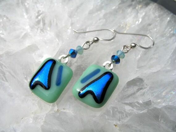 Sea Foam Green and Metallic BlueDangling Earrings - Dichroic Fused Glass