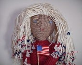 Liberty Anne, patriotic girl, adult collectable art doll with American flag and bell